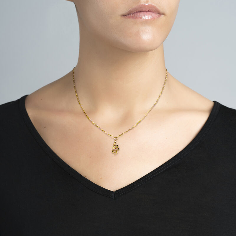gold plated snake pendant, J04011-02-BSN-WT, hi-res