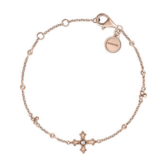Rose gold plated small-sized cross bracelet with topaz, J04234-03-WT, hi-res