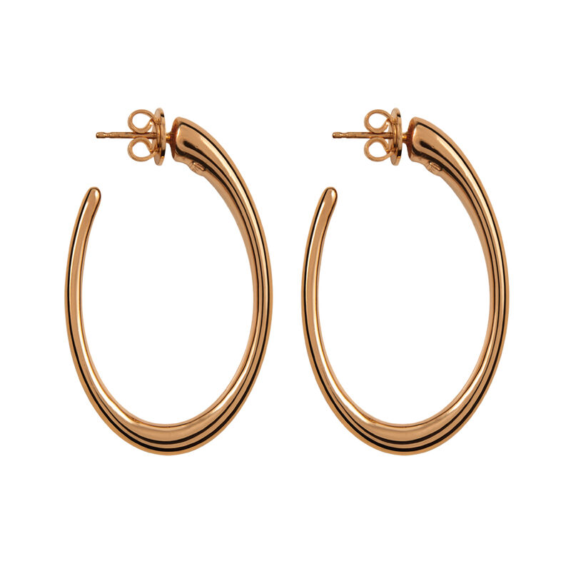 Rose gold plated oval earrings, J00933-03, hi-res