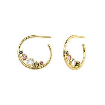 Medium gold plated stones hoop earrings , J04144-02-BSPTSKYGT, hi-res