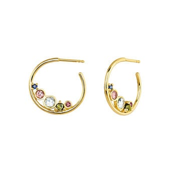 Hoop earrings medium stones gold, J04144-02-BSPTSKYGT, hi-res