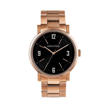 Montre Brooklyn bracelet acier rose cadran noir, W45A-PKPKBL-AXPK, hi-res