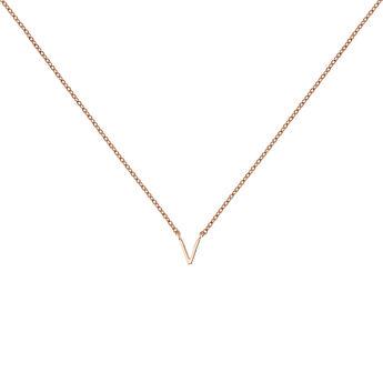 Collar inicial V oro rosa, J04382-03-V, hi-res