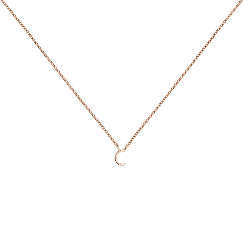 Rose gold Initial C necklace, J04382-03-C, hi-res