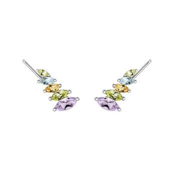 Silver climber earrings with gemstones, J03668-01-MULTI, hi-res