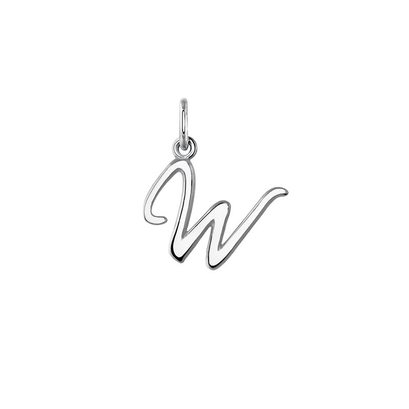 Silver initial W necklace, J03932-01-W, hi-res