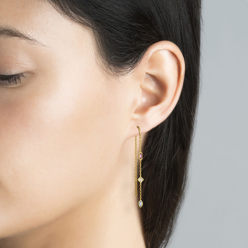 Long gold plated stones earring, J04653-02-SKYYQRO-H, hi-res