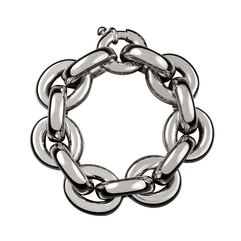 Large silver flat rolo link bracelet, J00043-01, hi-res