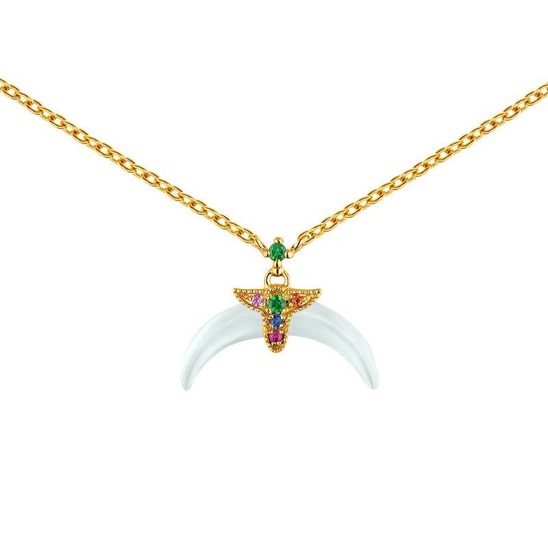 Gold plated aquamarine motifs horn necklace, J04314-02-AQMULTI, hi-res