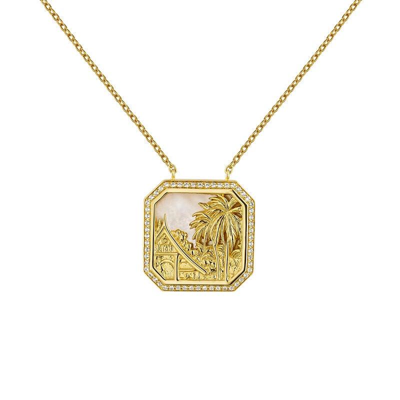 Gold plated pearl landscape topaz necklace, J04276-02-WT-MOP, hi-res
