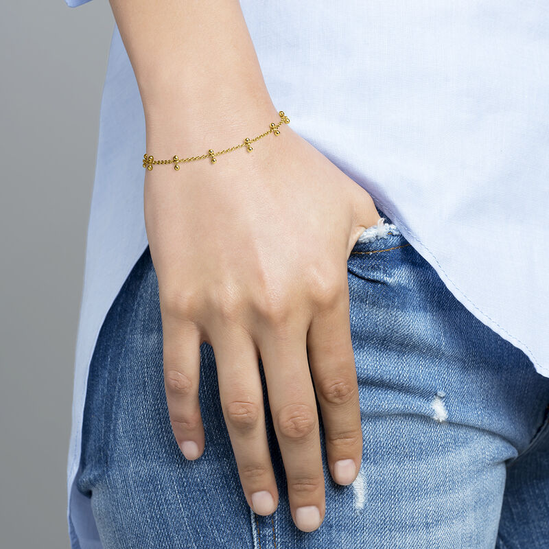 Gold plated silver piercing bars bracelet, J04327-02, hi-res