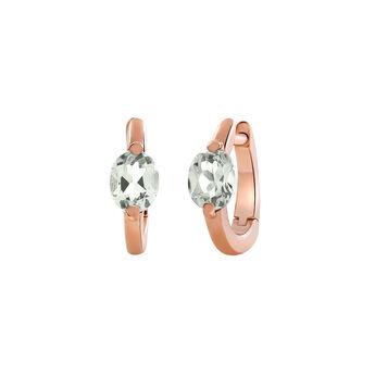 Pendientes aro mini cuarzo plata recubierta oro rosa, J03272-03-GQ, hi-res