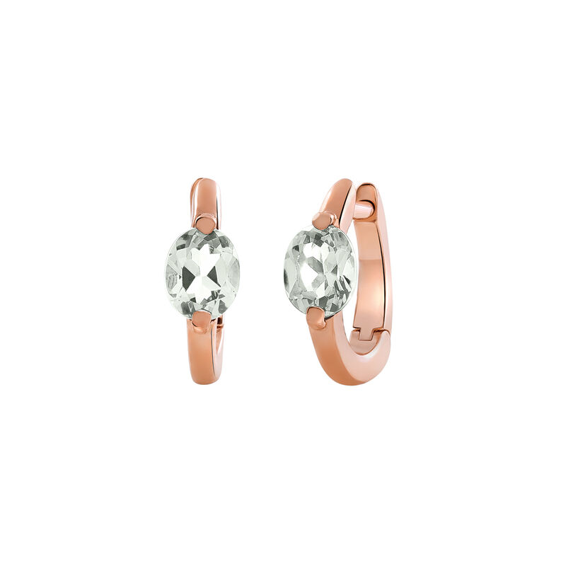 Rose gold quartz mini hoop earrings, J03272-03-GQ, hi-res