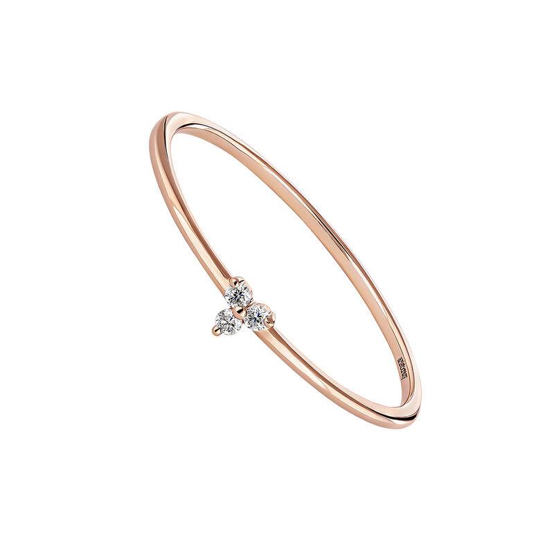 Pink gold diamond clover ring, J04435-03, hi-res