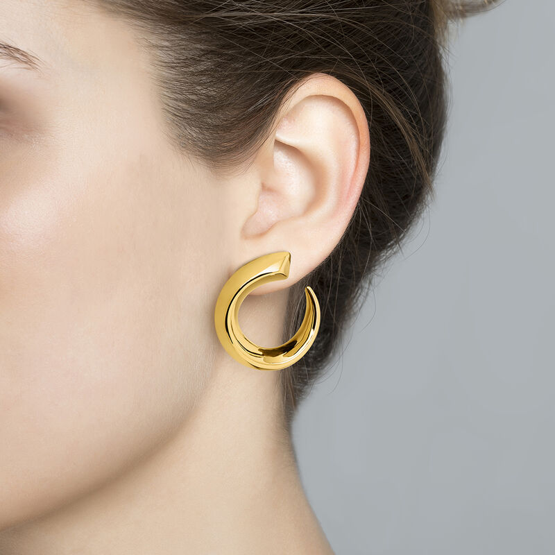 Large gold plated tapered open hoop earrings, J04255-02, hi-res