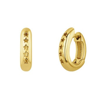 Gold plated silver stars thick hoop earrings, J04873-02, hi-res