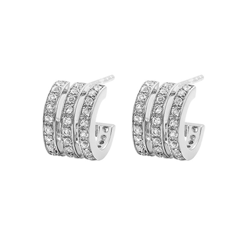Mini silver triple hoop earrings with topaz, J03289-01-WT, hi-res