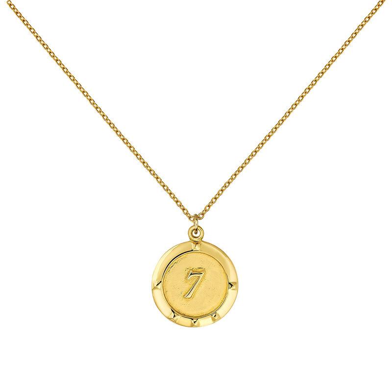 Collier monnaie numéro 7 argent plaqué or, J03588-02-WT, hi-res