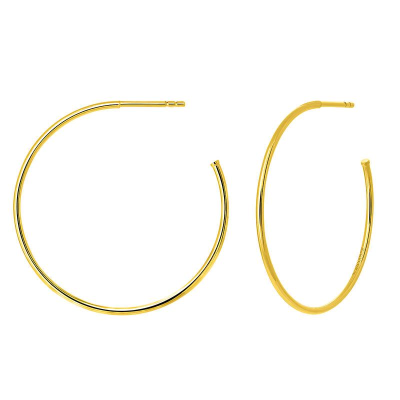 Pendientes aro grande fino plata recubierta oro amarillo, J03520-02, hi-res