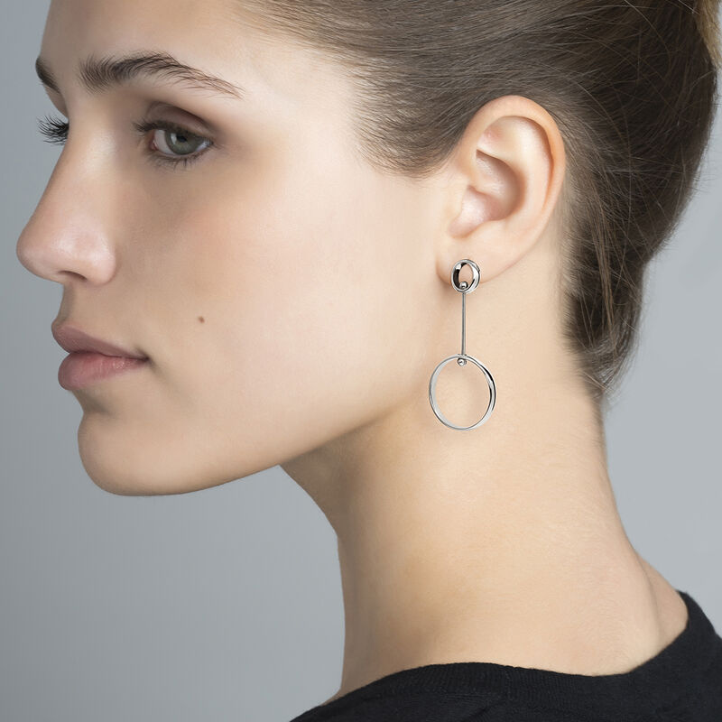 Silver piercing balls double hoop earrings, J04322-01, hi-res