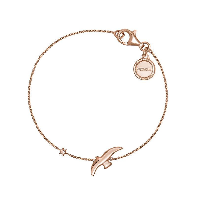 Pulsera motivo ave y estrella plata recubierta oro rosa, J04605-03, hi-res