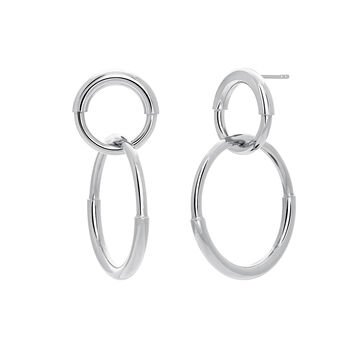 Silver double link hoop earrings, J03652-01, hi-res