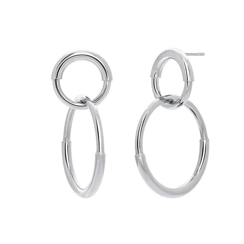 Silver double link hoop earrings, STERLING SILVER, hi-res