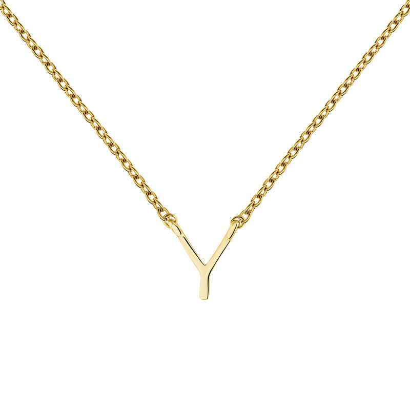 Gold Initial Y necklace, J04382-02-Y, hi-res
