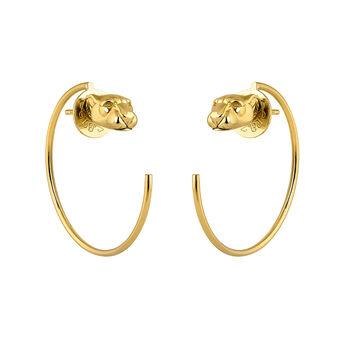 Gold panther hoop earrings, J04195-02, hi-res