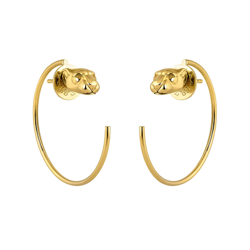 Gold panther hoop earrings, J04195-02, hi-res