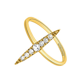 Gold Topaz Geometric Ring, J03530-02-WT, hi-res