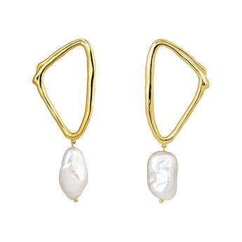 Triangular earrings baroque pearl yellow gold, J04200-02-WP, hi-res
