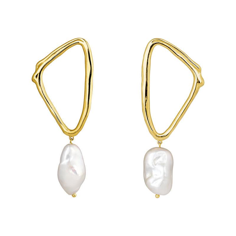 Pendientes triangulares perla barroca plata recubierta oro, J04200-02-WP, hi-res