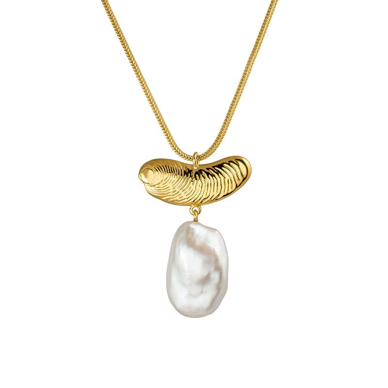 Large gold plated pearl sculptural necklace, J04058-02-WP, hi-res