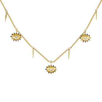 Gold plated silver eye patterns white topaz and tsavorite necklace, J04408-02-WT-MULTI, hi-res
