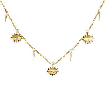 Collar motivos ojos piedras plata recubierta oro, J04408-02-WT-MULTI, hi-res