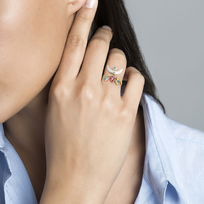 Gold plated multi-stone horn ring, J04313-02-AQLB, hi-res