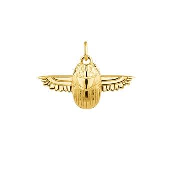 Pendentif scarabée égyptien argent plaqué or, J04268-02, hi-res