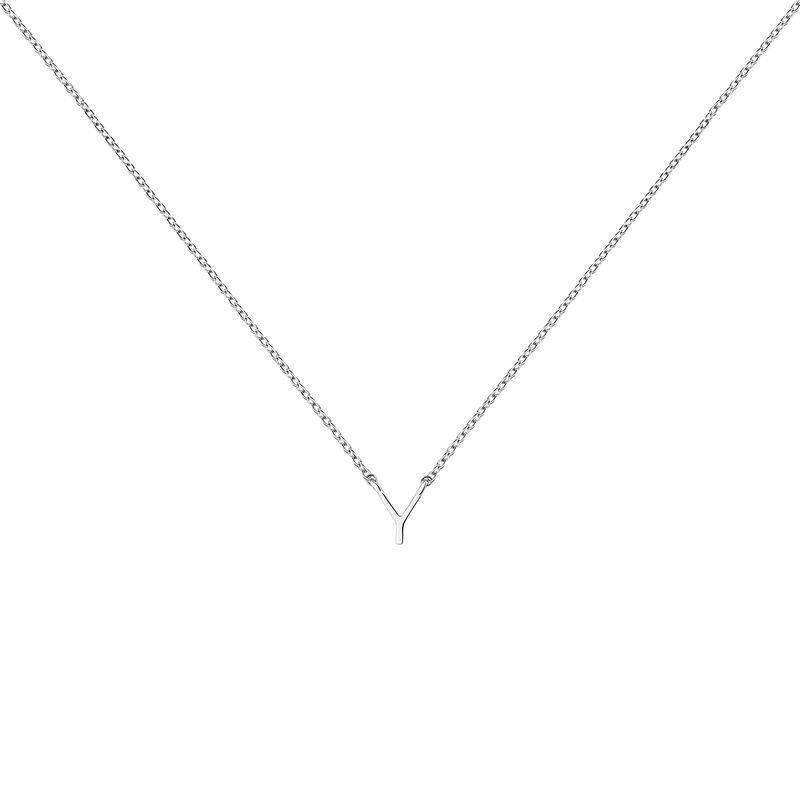 Collier iniciale Y or blanc, J04382-01-Y, hi-res