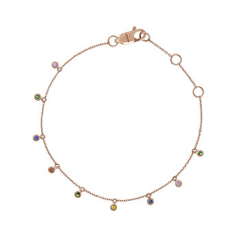 Bracelet tsavorite multicolore saphir et or rose, J04353-03-MULTI, hi-res