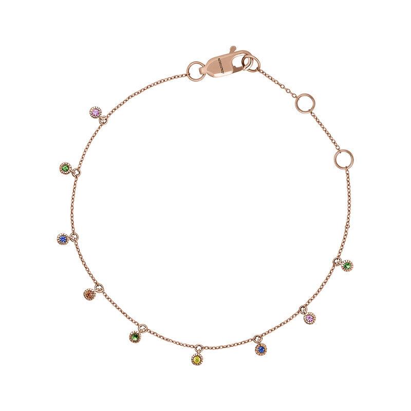 Pulsera piedras oro rosa 9 kt