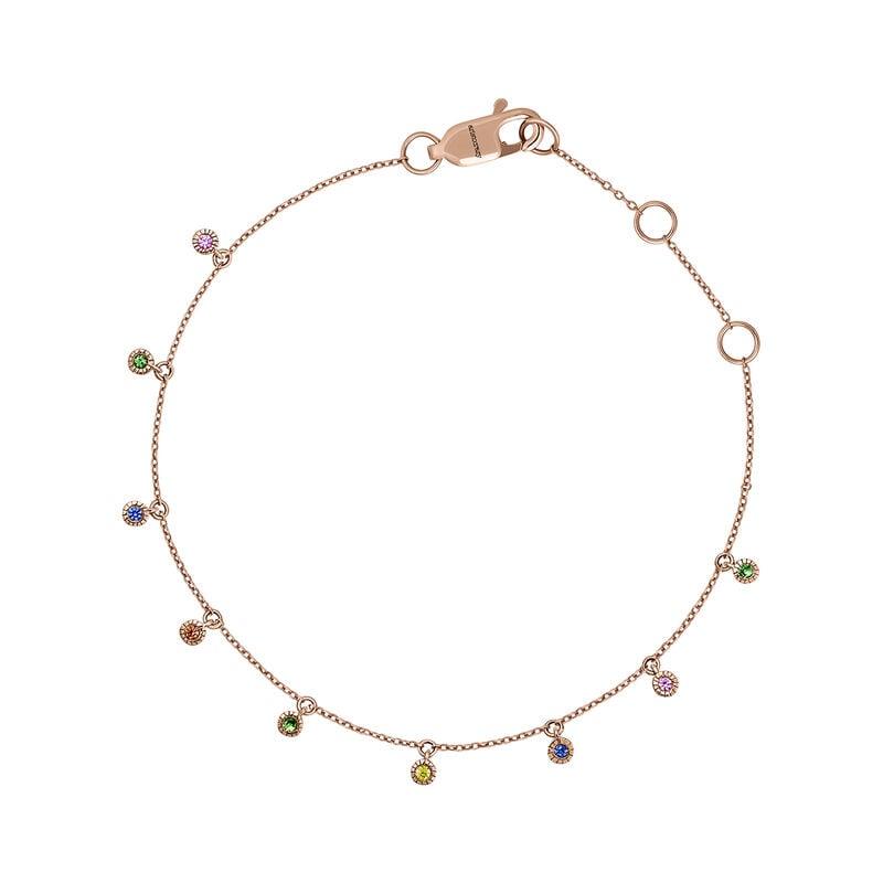 Rose gold multicolor sapphire and tsavorite bracelet