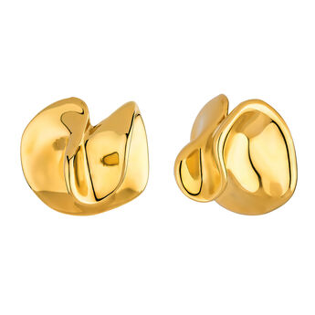 Geometric gold plated petal earrings, J04384-02, hi-res