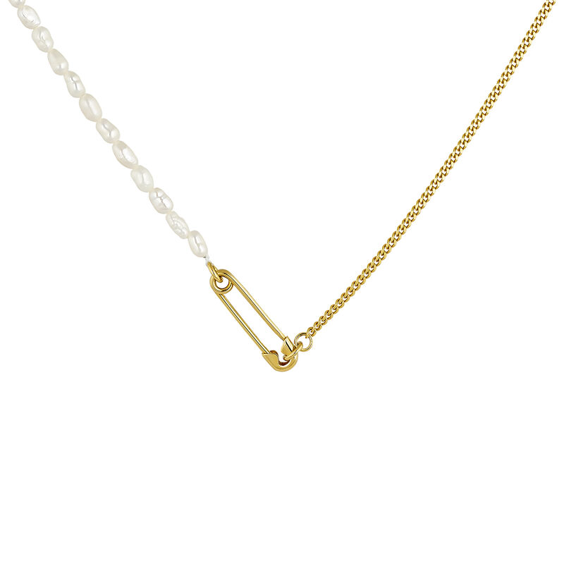 Gold plated pearls safety pin necklace, J04573-02-WP, hi-res