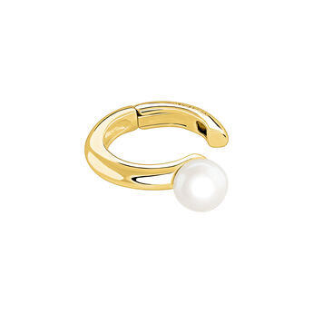 Gold piercing earring cartilage pearl, J04020-02-WP, hi-res