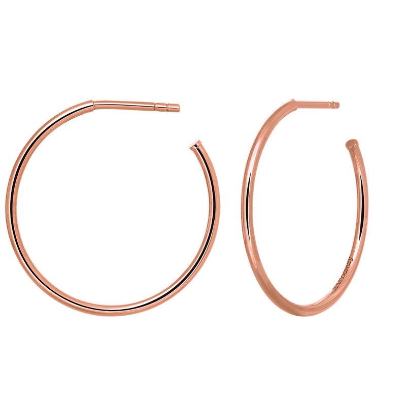 Rose gold medium hoop earrings, J03519-03, hi-res