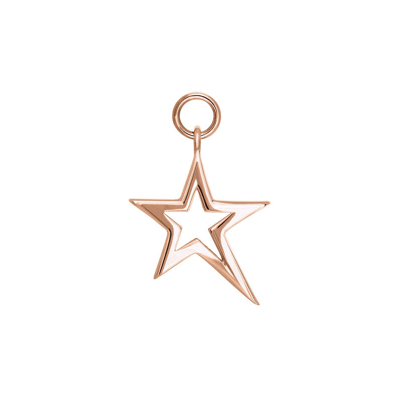 Rose gold plated hollow asymmetric star necklace, J03975-03, hi-res
