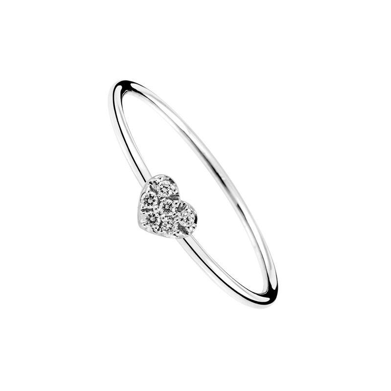 Anillo corazón diamantes oro blanco 0,05 ct, J01632-01, hi-res