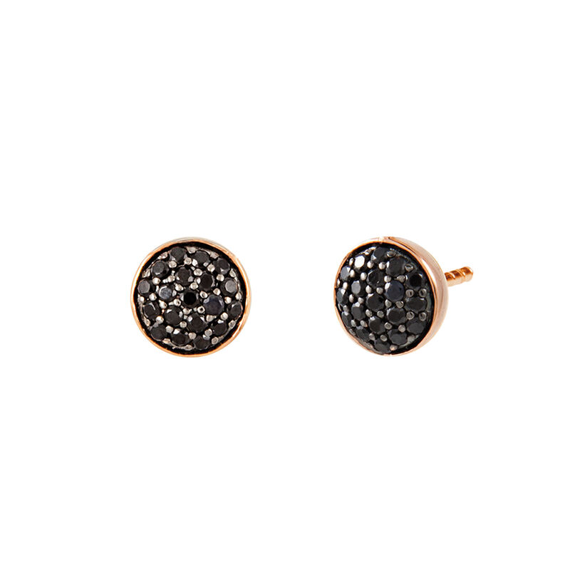Gold plated circle earrings with spinels, J01969-03-BSN, hi-res