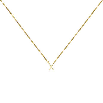 Gold Initial X necklace, J04382-02-X, hi-res